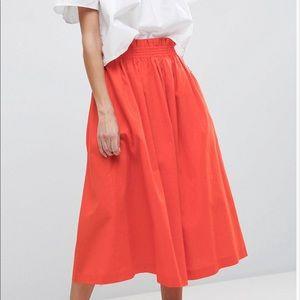 ASOS linen orange midi skirt